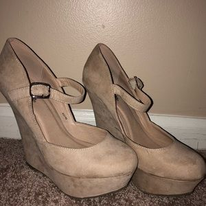 Nude Strappy Wedge